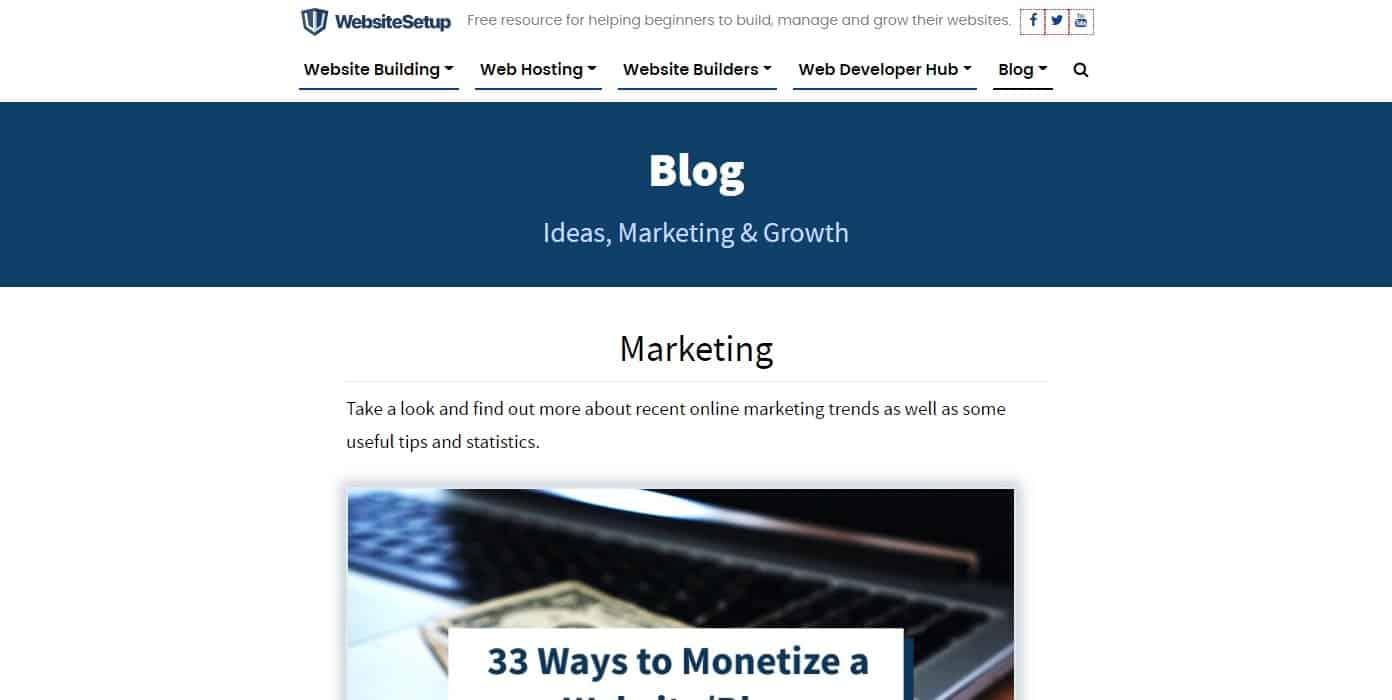 WebsiteSetup Blog Page