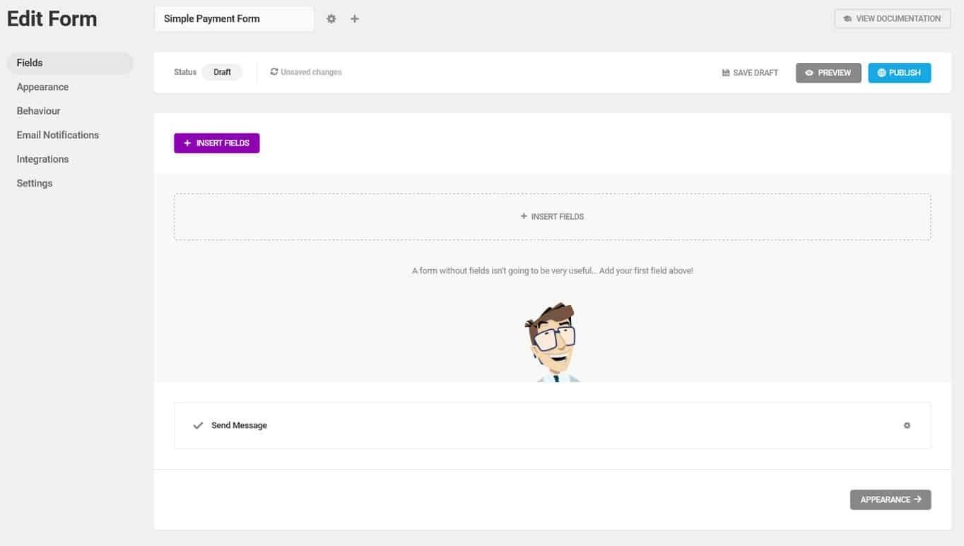 forminator form editing screen