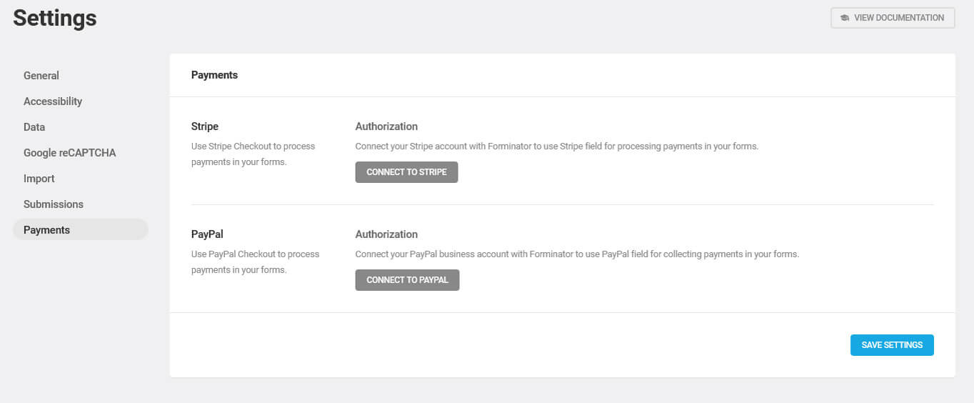 forminator payment settings