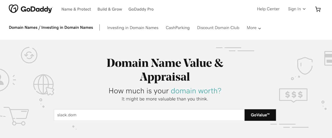 GoDaddy domain name value appraisal tool