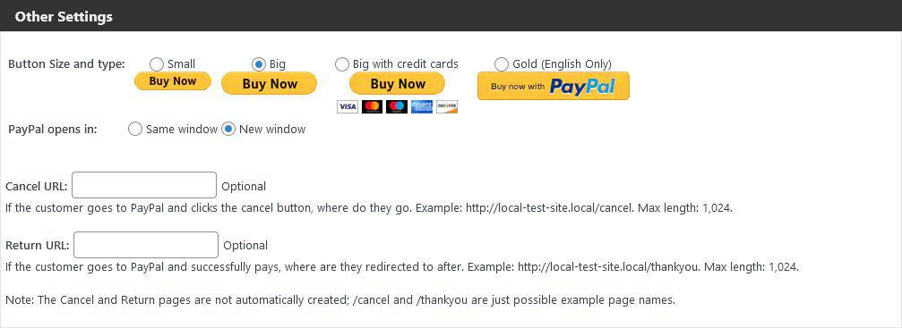 paypal buy now button plugin design settings