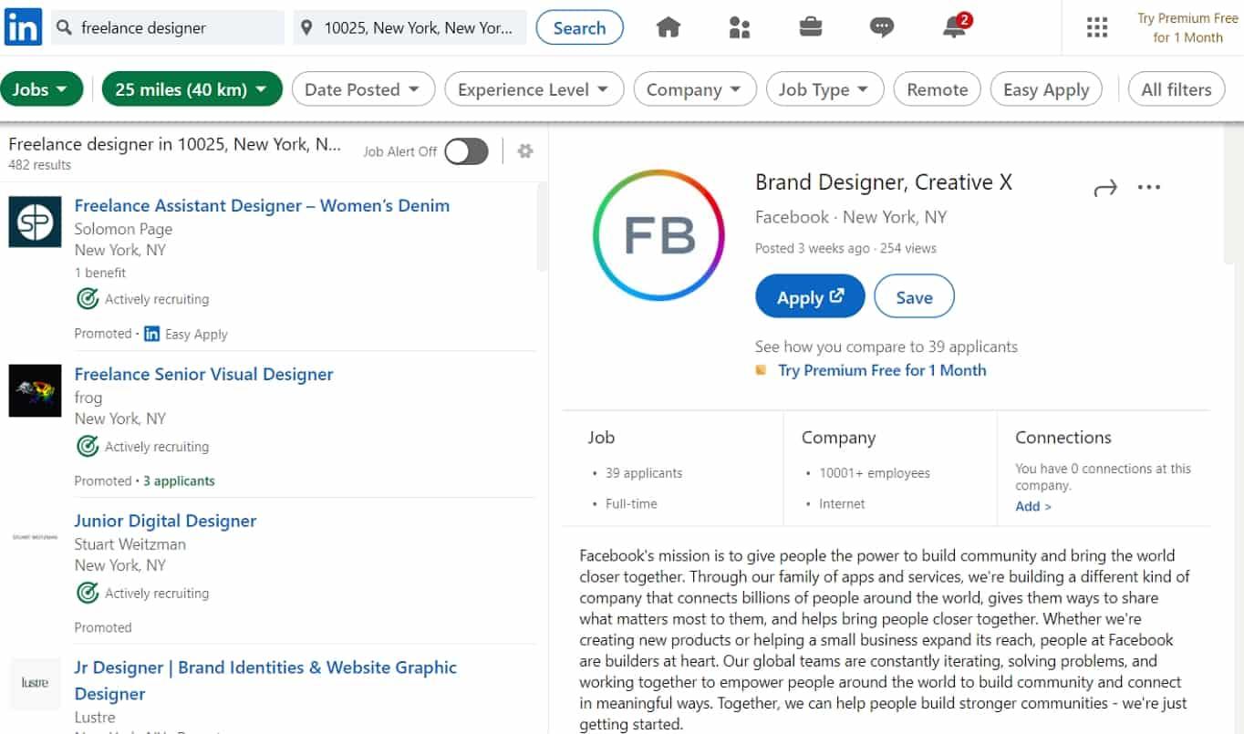 LinkedIn freelance designer jobs