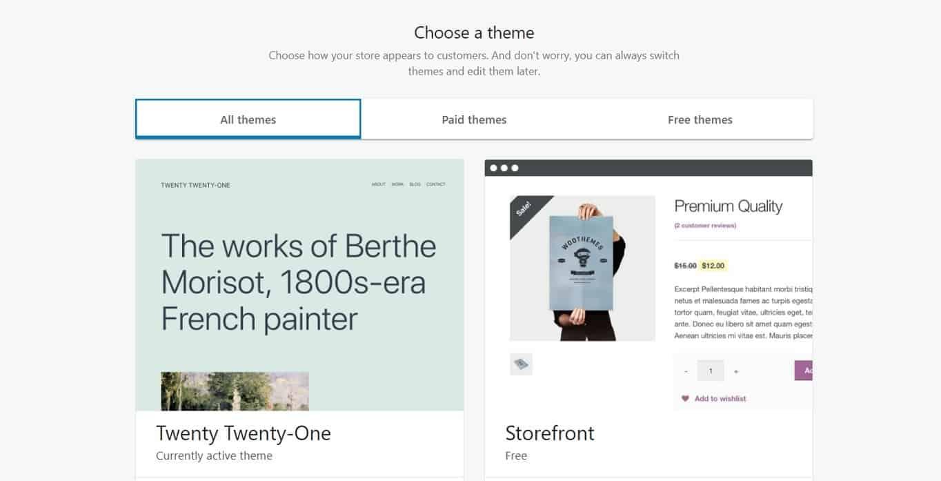 WooCommerce choose theme