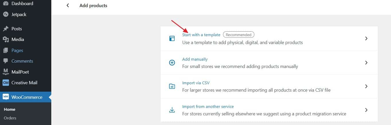 WooCommerce add products with template