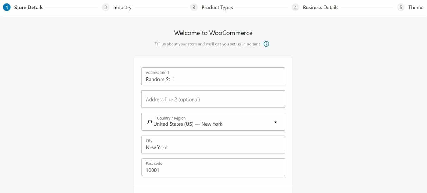 WooCommerce store details