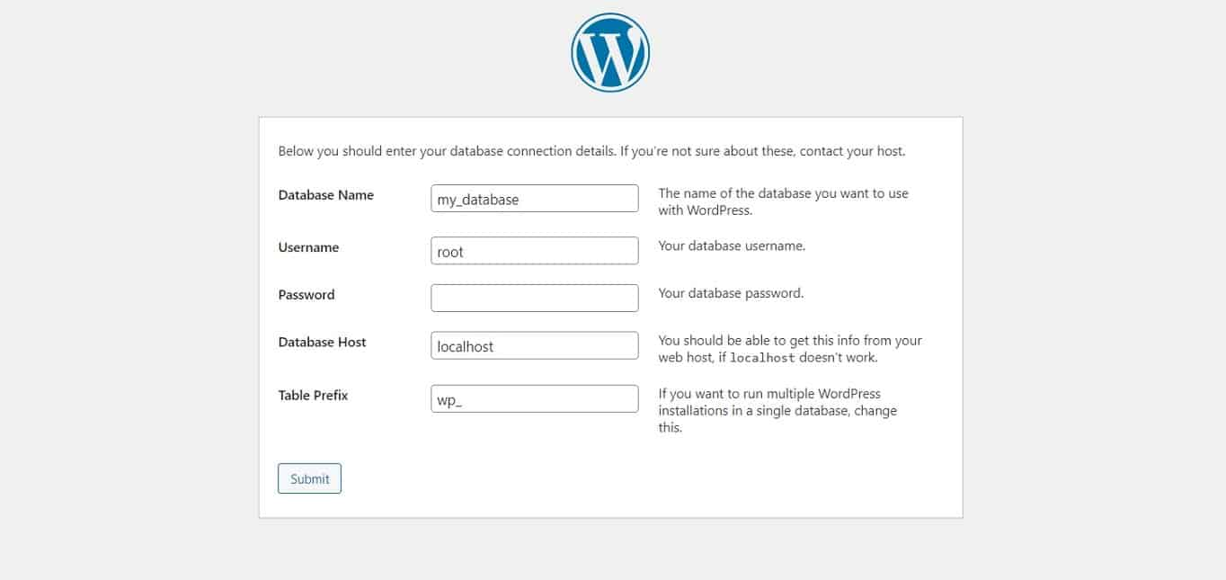 WordPress database details