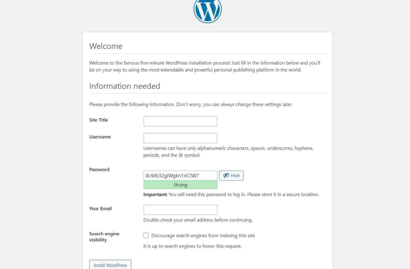 Localhost wp-admin
