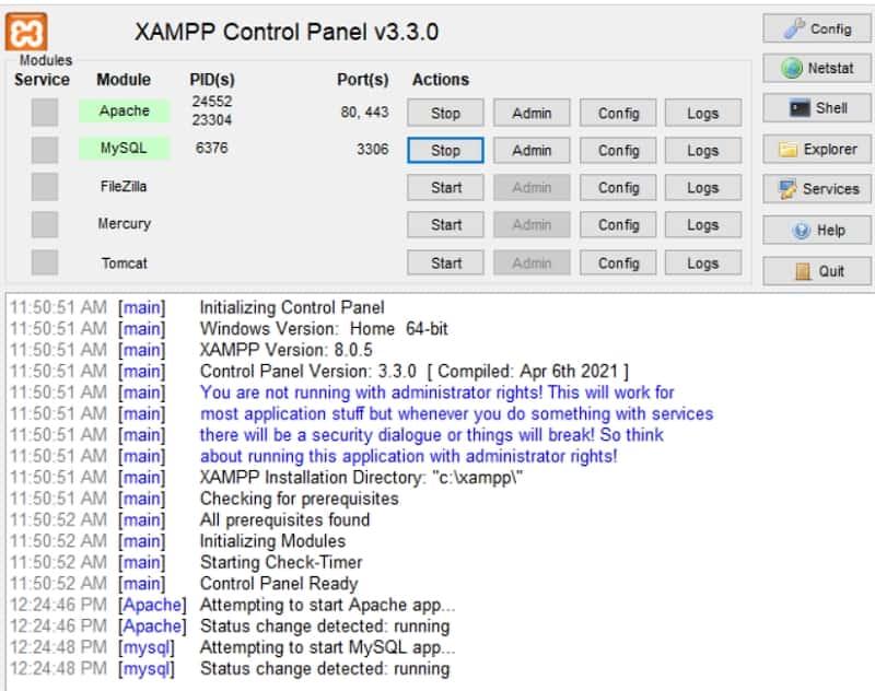 XAMPP modules ready to launch