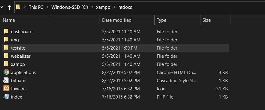File Directory HTDOCS