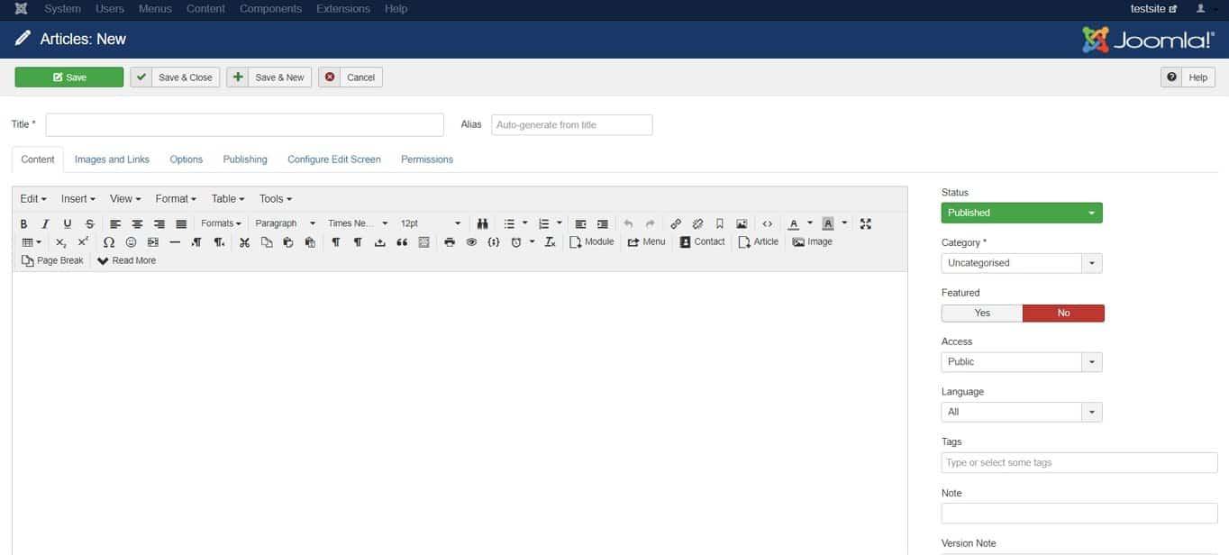 Best CMS demo: joomla creating a new post