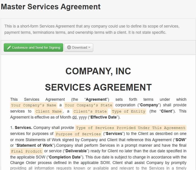 master service agreement