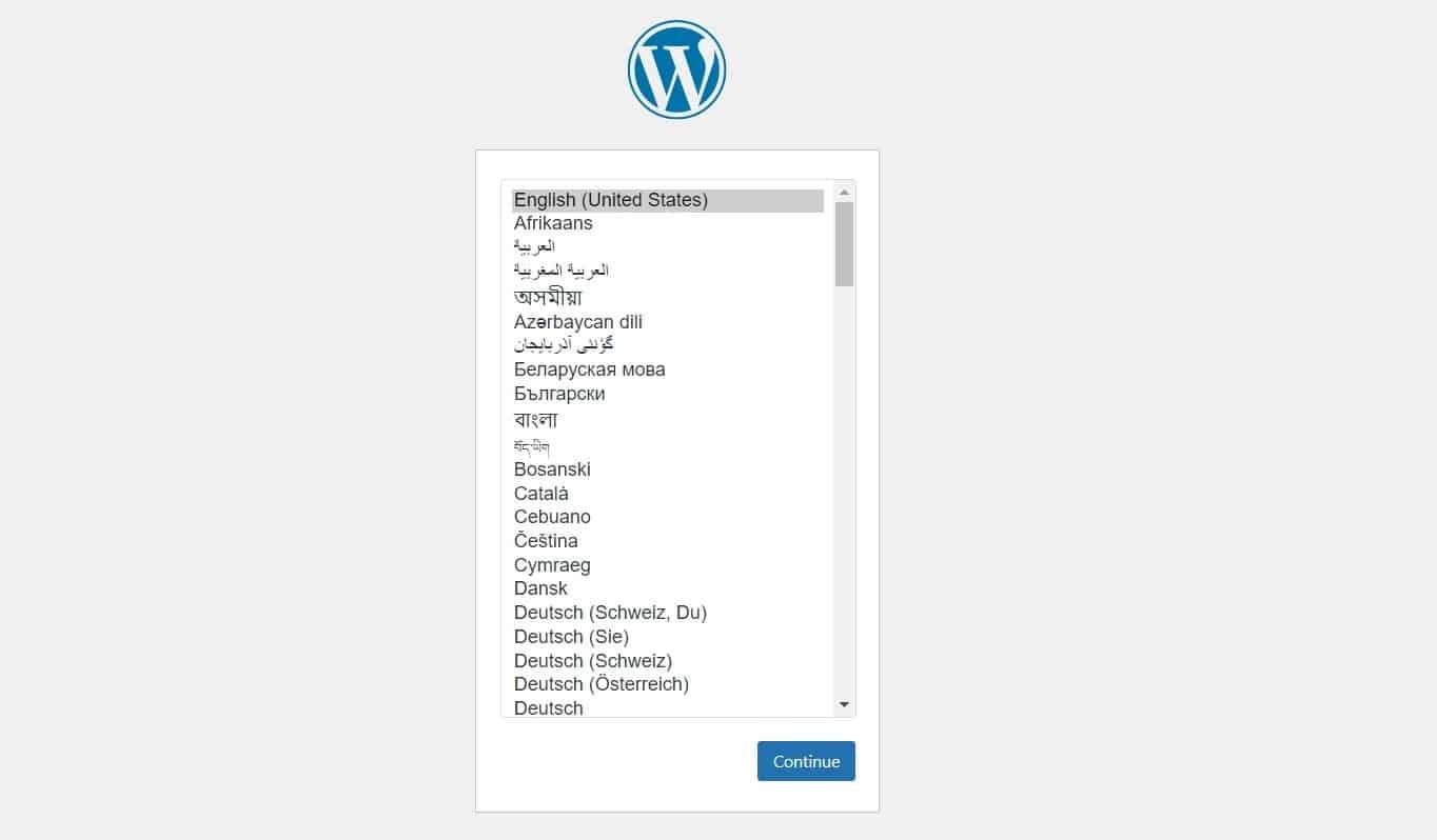 WordPress setup configuration